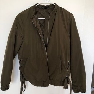 Zara TRF Sz S Lace-Up Puff Coat